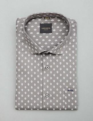 Ginneti printed grey mens shirt