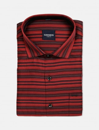 Ginneti red stripe cotton mens shirt