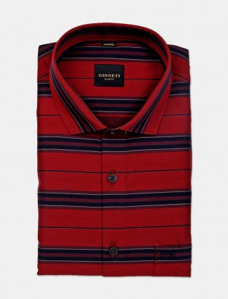 Ginneti red stripe patern cotton shirt