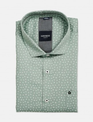 Ginneti sea green cotton printed shirt