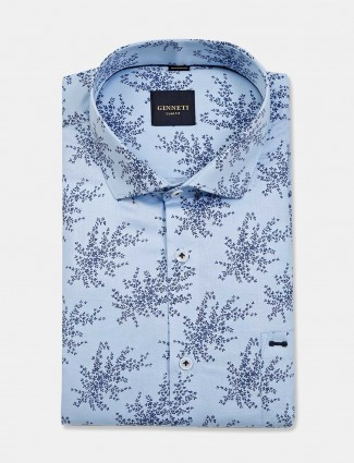 Ginneti sky blue printed cotton shirt for mens
