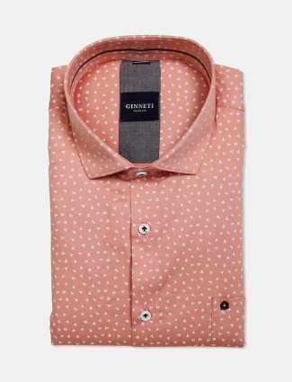 Ginneti slim fit peach printed shirt