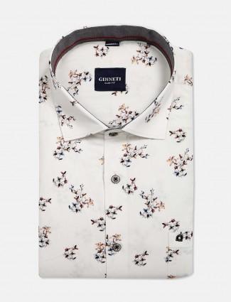 Ginneti slim fit printed off white shirt