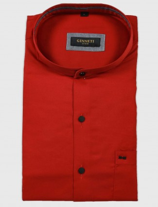 Ginneti solid red colored formal shirt