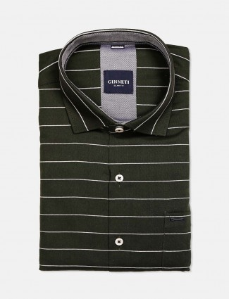 Ginneti stripe cotton bottle green shirt