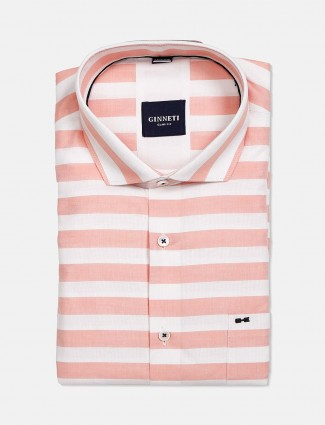 Ginneti stripe slim fit light pink and white shirt