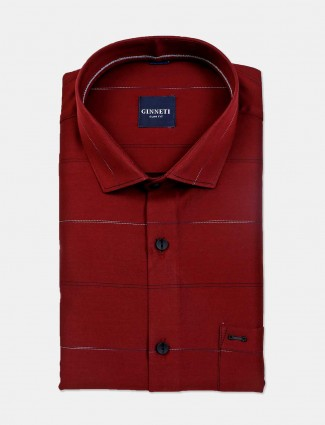 Ginneti stripe slim fit maroon cotton shirt