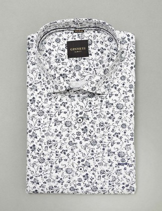 Ginneti white colored printed slim fit shirt