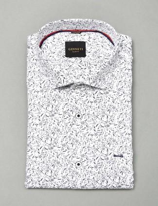 Ginneti white hue cotton formal mens shirt