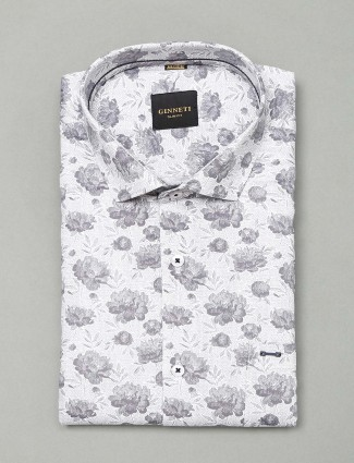 Ginneti white printed cotton shirt for mens