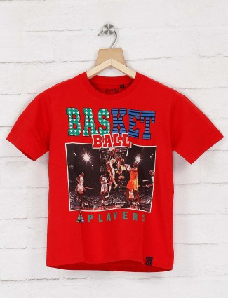 Giraffe red color basket ball printed t-shirt