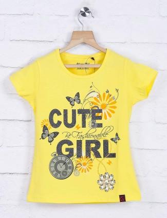 Giraffe yellow cotton girl top