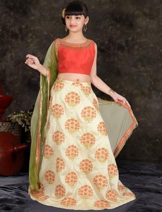 Girls Cream color silk designer lehenga choli