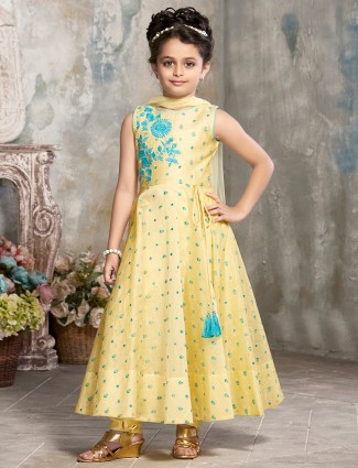 Girls Silk yellow color anarkali suit