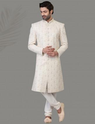 Glamourous white silk sherwani set