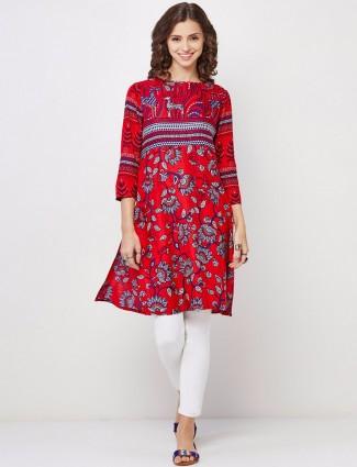 Global desi red printed cotton kurti