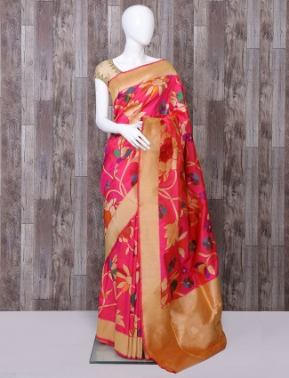 Glowing magenta pure banarasi silk saree