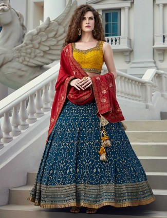 Gold and blue georgette wedding occasion lehenga choli