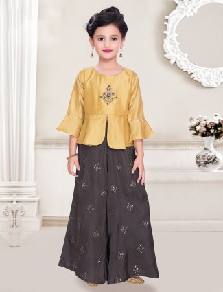 Gold and brown cotton silk peplum style palazzo suit