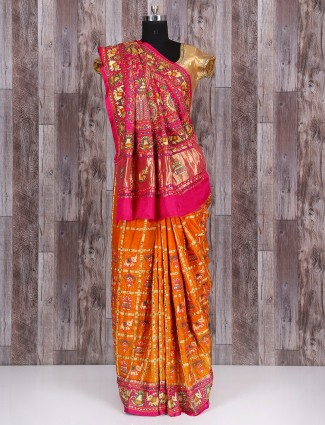 Gold and magenta silk lovely saree