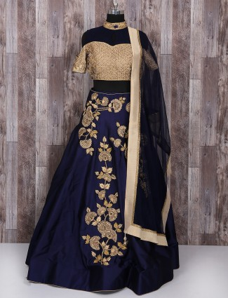 Gold and navy silk lehenga choli