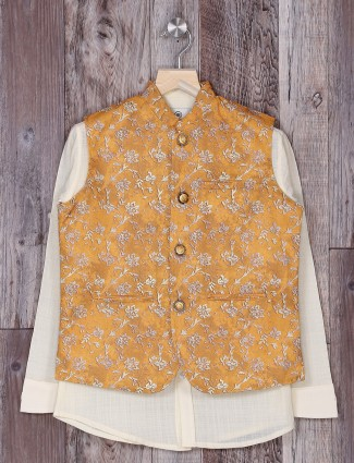 Gold and white hue waistcoat for boys