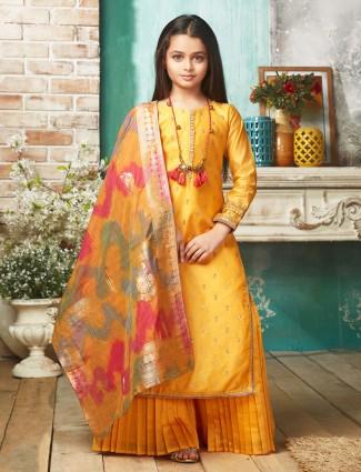 Gold color designer cotton silk punjabi palazzo suit