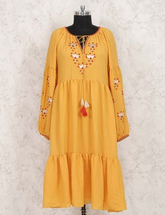 Gold color solid kurti for party wear