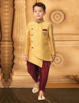 Gold color textured pattern indo western