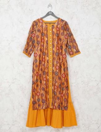 Gold cotton printed quarter sleeves kurti