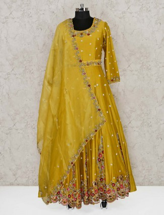 Gold cotton silk floor length anarkali suit