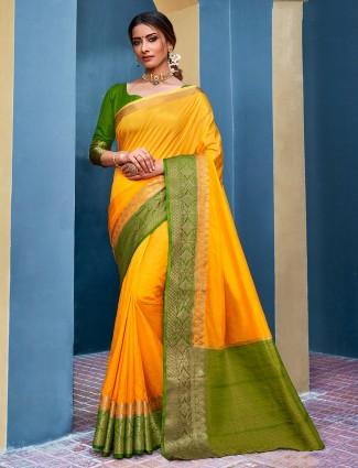 Gold cotton silk saree for festivals