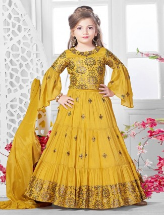 Gold georgette lehenga choli for wedding