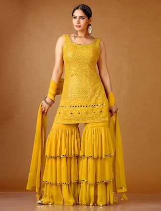 Gold georgette punjabi sharara suit special for wedding days
