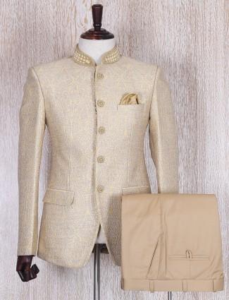 Gold jamavar jodhpuri coat suit