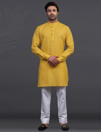 Gold linen half buttoned placket kurta suit