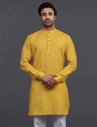 Gold linen half buttoned placket mens kurta