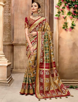 Gold pure patola silk saree for wedding