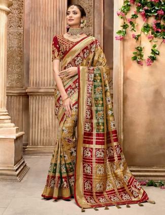 Gold pure patola silk saree fro wedding
