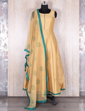 Gold raw silk anarkali suit