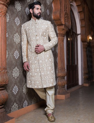 Gold raw silk sherwani