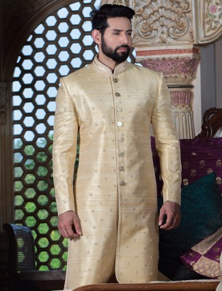 Gold raw silk wedding sherwani