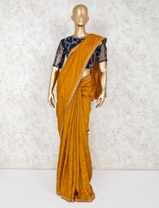 Gold satin festive wear saree with readymade blouse