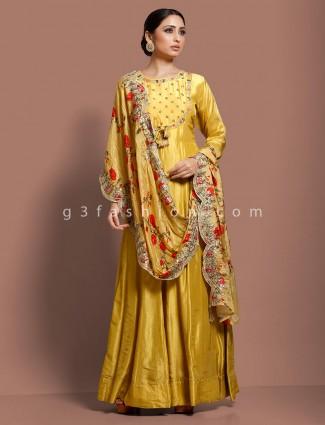 Gold silk floor length anarkali salwar dress