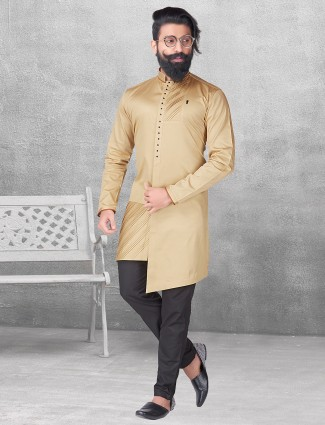 Gold silk plain kurta suit