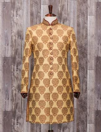 Gold silk wedding classic indo western