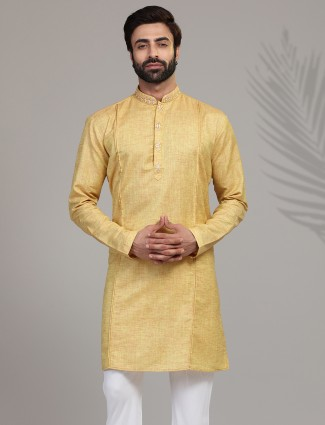 Gold solid cotton silk mens kurta