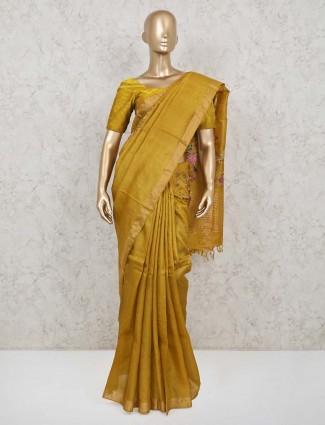 Gold solid haldi function handloom cotton saree