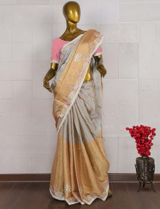 Golden and grey hue silk saree