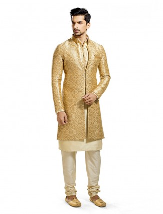 Golden cream silk wedding wear indo western
